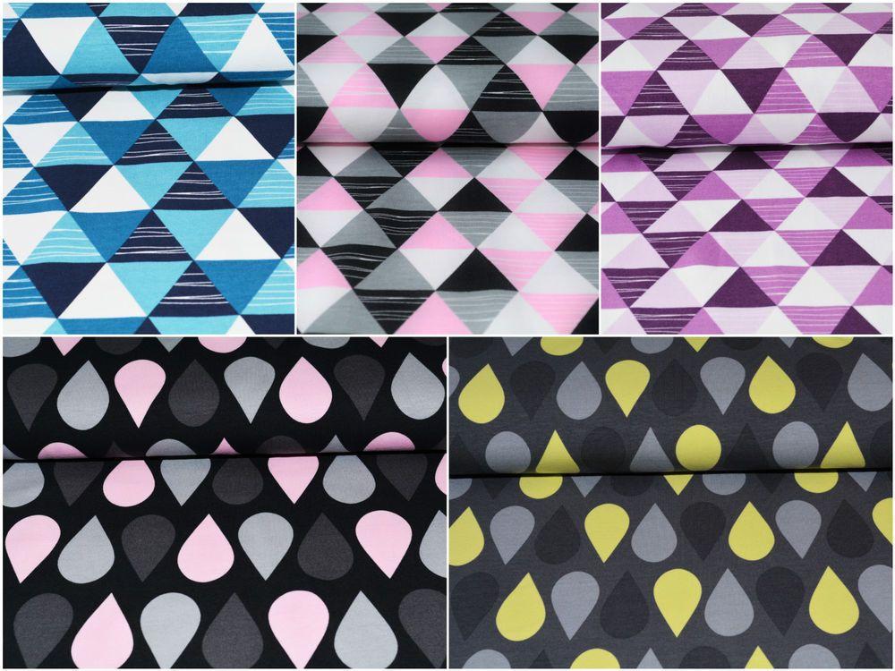 details zu stoff stoffe jersey motive triangle drops tropfen dreiecke muster rosa grau dreieck. Black Bedroom Furniture Sets. Home Design Ideas