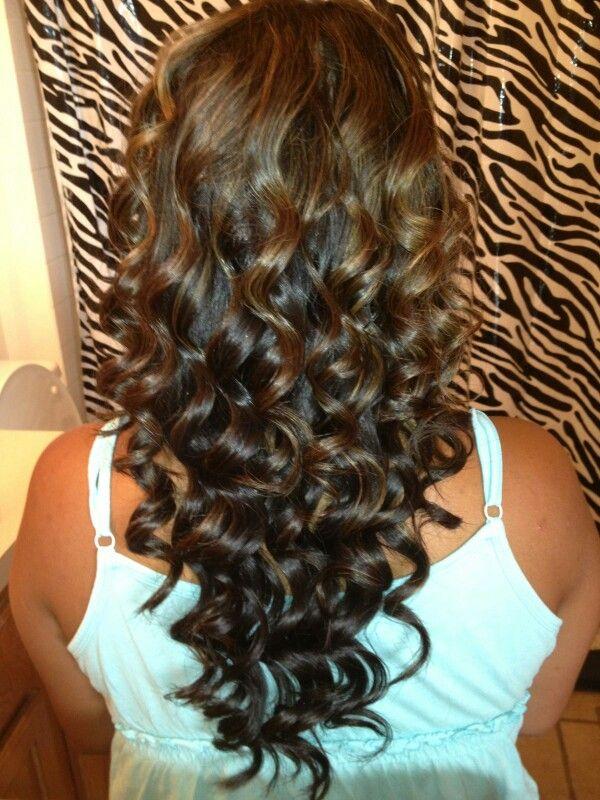 Curled My Sister S Hair Dark Brown With Caramel Highlights Hair