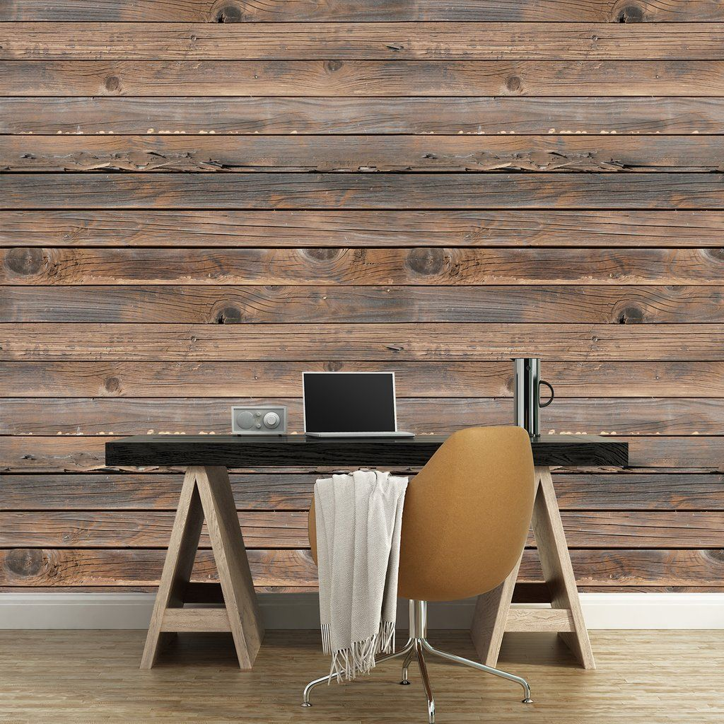 Rustic Wood Mural Rustic wood, Wood adhesive, Removable