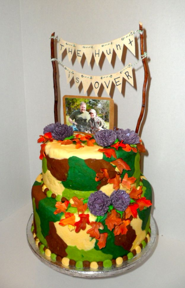 Two Tier Camouflage Wedding shower cake