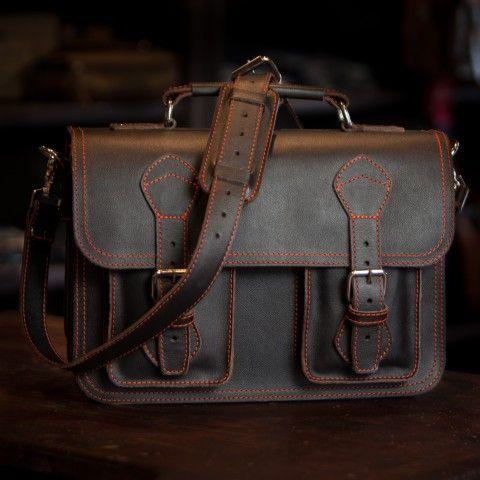Denver Leather Briefcase   Limited Edition   Dark Walnut With Orange  Stitching
