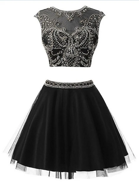 Tulle Homecoming Dresses Short Black Two Piece Homecoming Dress S3733