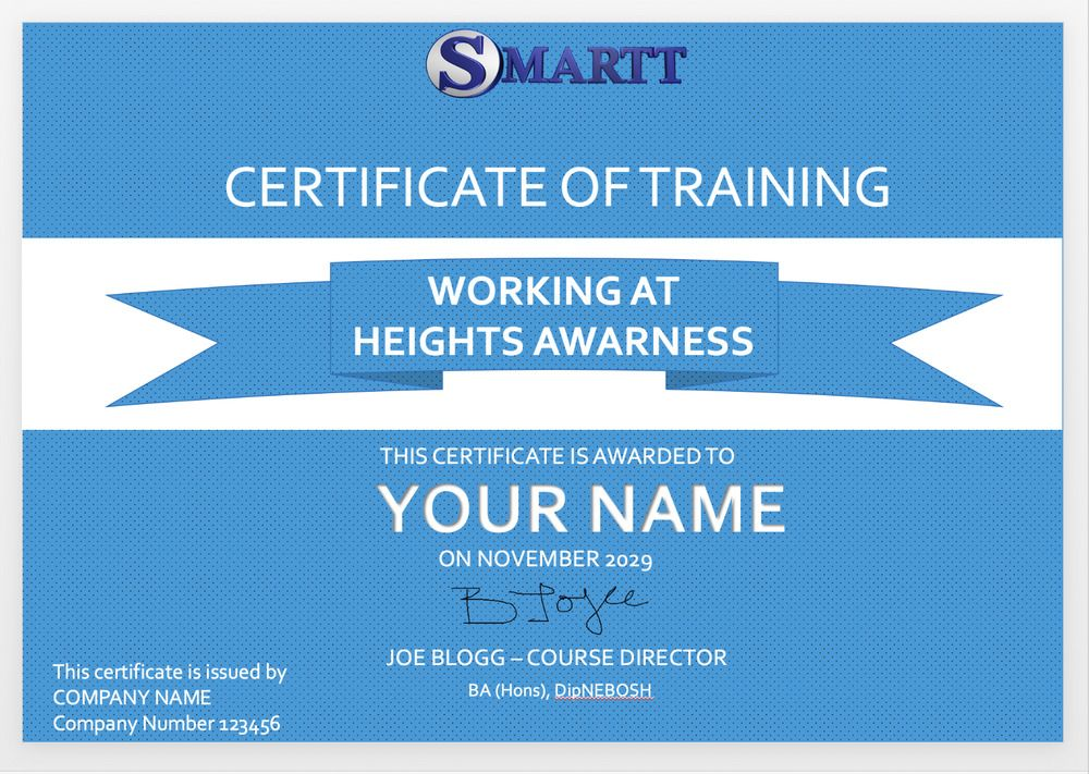 Personalised awareness training certificate for all