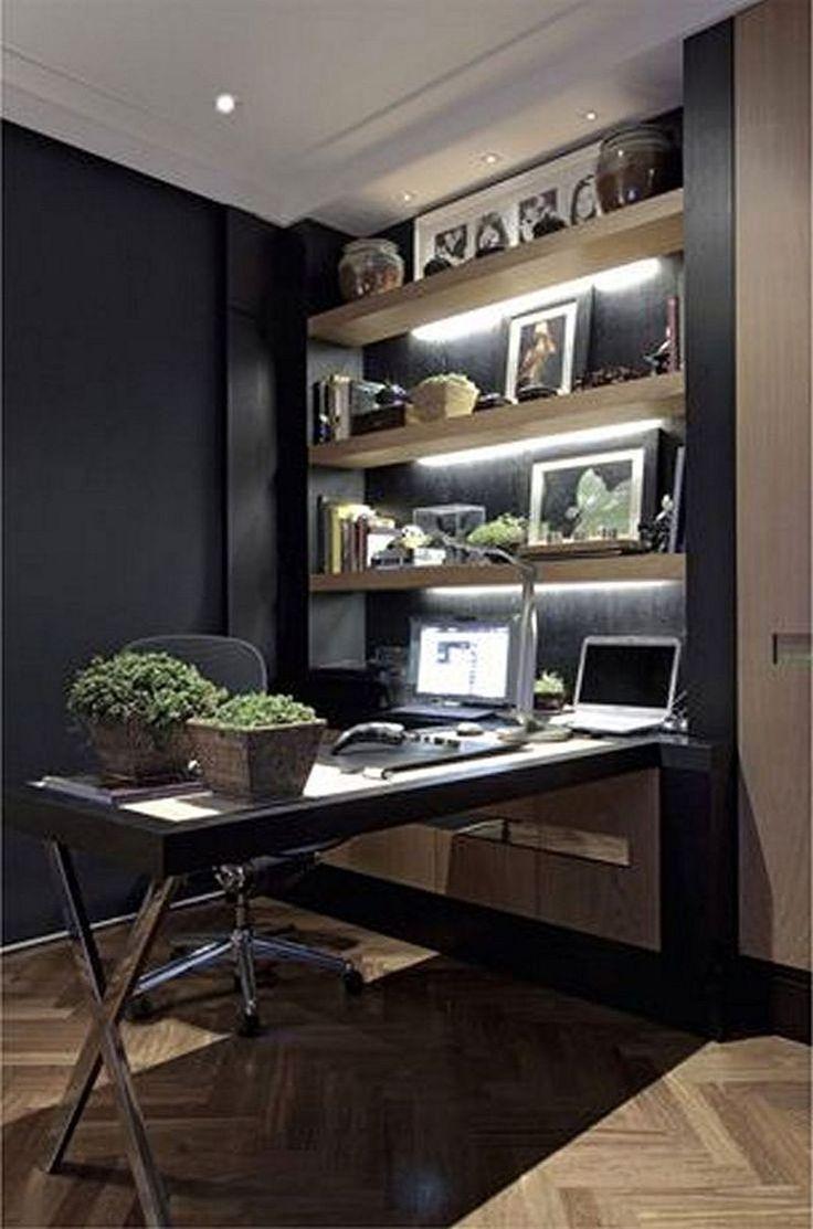 42 Amazing Home Office Ideas & Design - Office Desk - Ideas of Office Desk #OfficeDesk -  Fabulous And Simple Home Office Design Ideas For Men 13