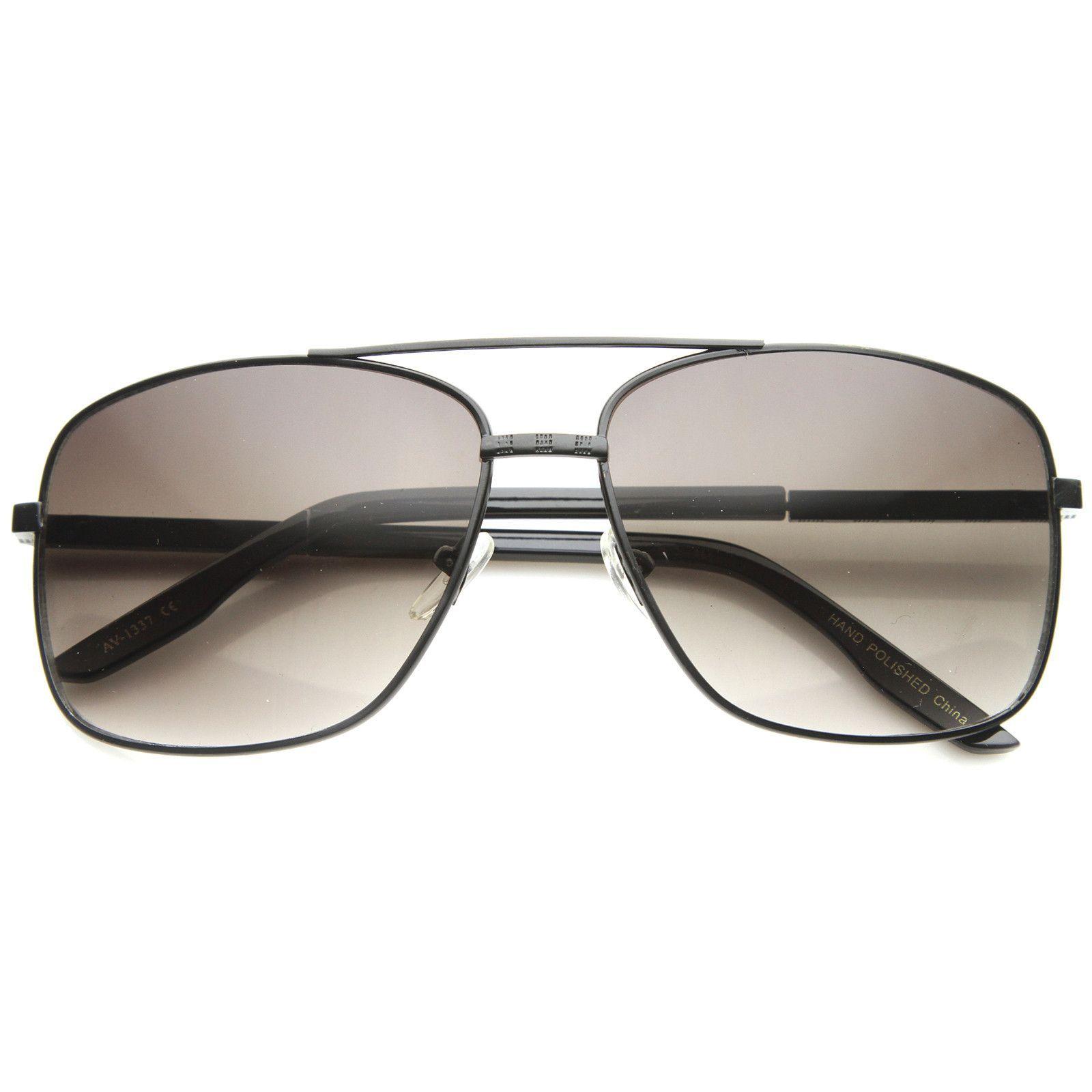 Mens Metal Aviator Sunglasses With UV400 Protected Gradient Lens