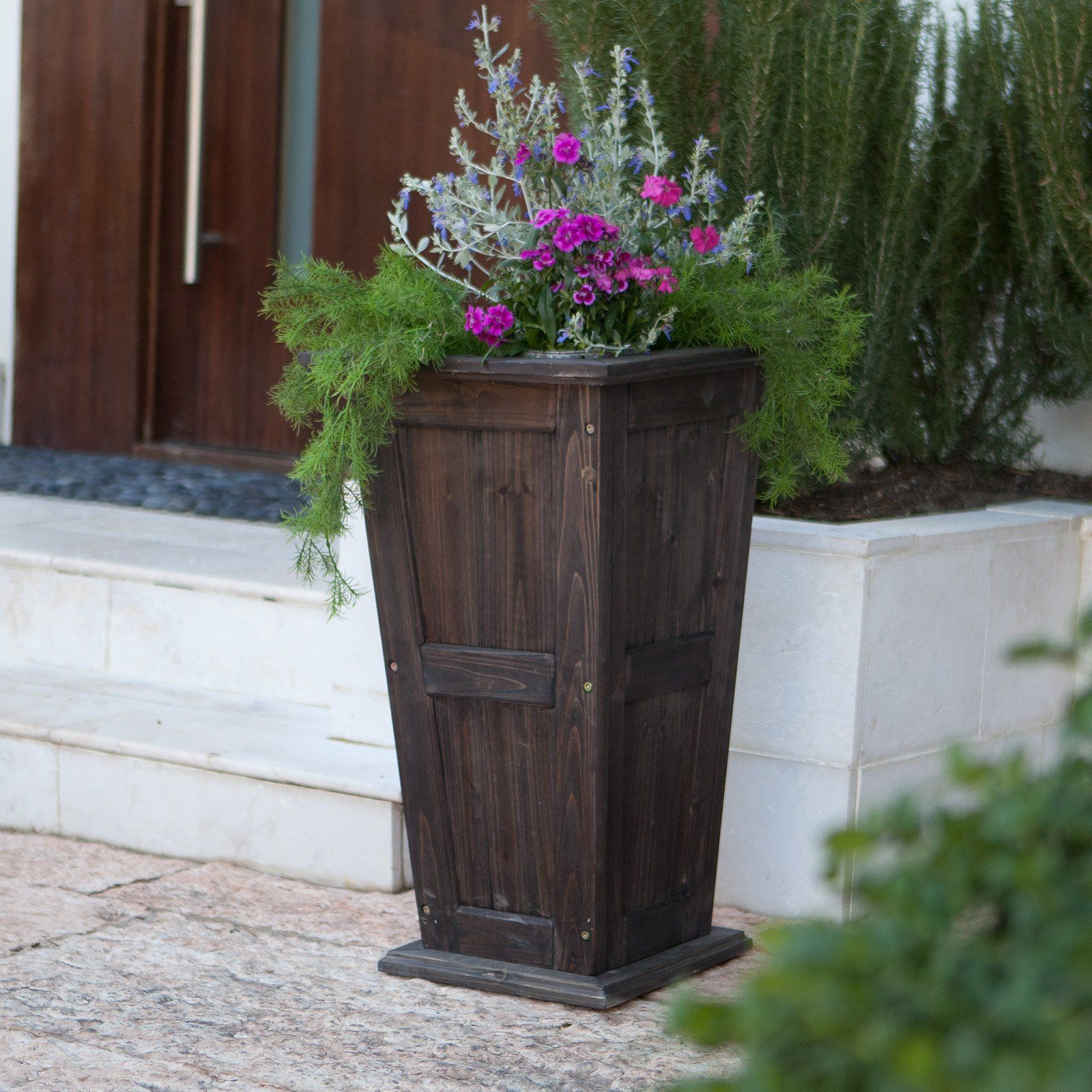 Have To Have It Rochester Tall Cedar Planter Dark Brown
