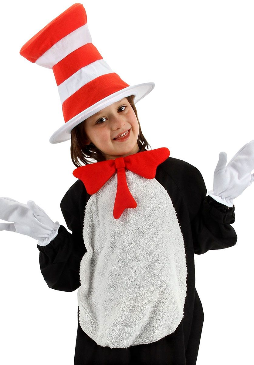 Kids Stripe Cat in the Hat Costume Dr Seuss Bow Tie Set Boys Child Book Week