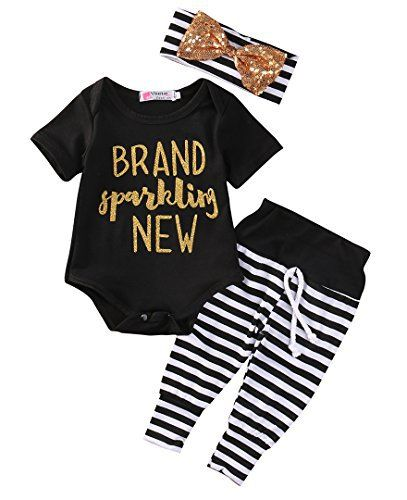 c34a3aa50245 Newborn Baby Girl Boy Clothes Outfit Arrow Romper+ Striped Pants+ ...