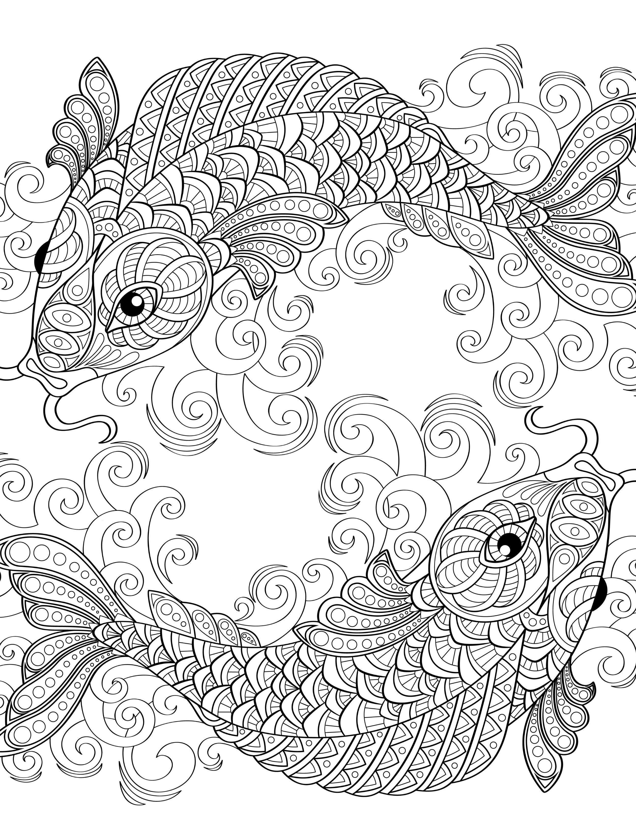 Whimsical designs coloring book - Yin And Yang Pieces Symbol Fish Coloring Page For Adults