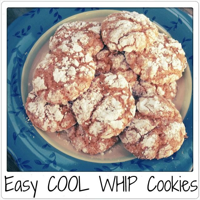 Easy cool whip cookies: cake mix, cool whip, one egg, and powdered sugar.  A pinner suggested lemon cake mix..
