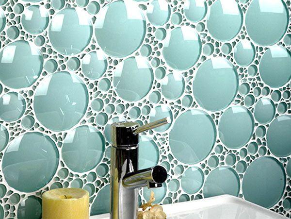 Teal Bubble Tiles Glass Cirlce Tiles Very Cool Bubble Bath Tile