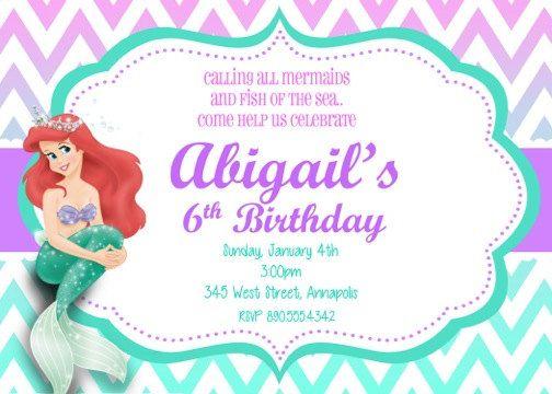 Little Mermaid Ariel Birthday Party Invitation Digital File - Ariel birthday invitations printable