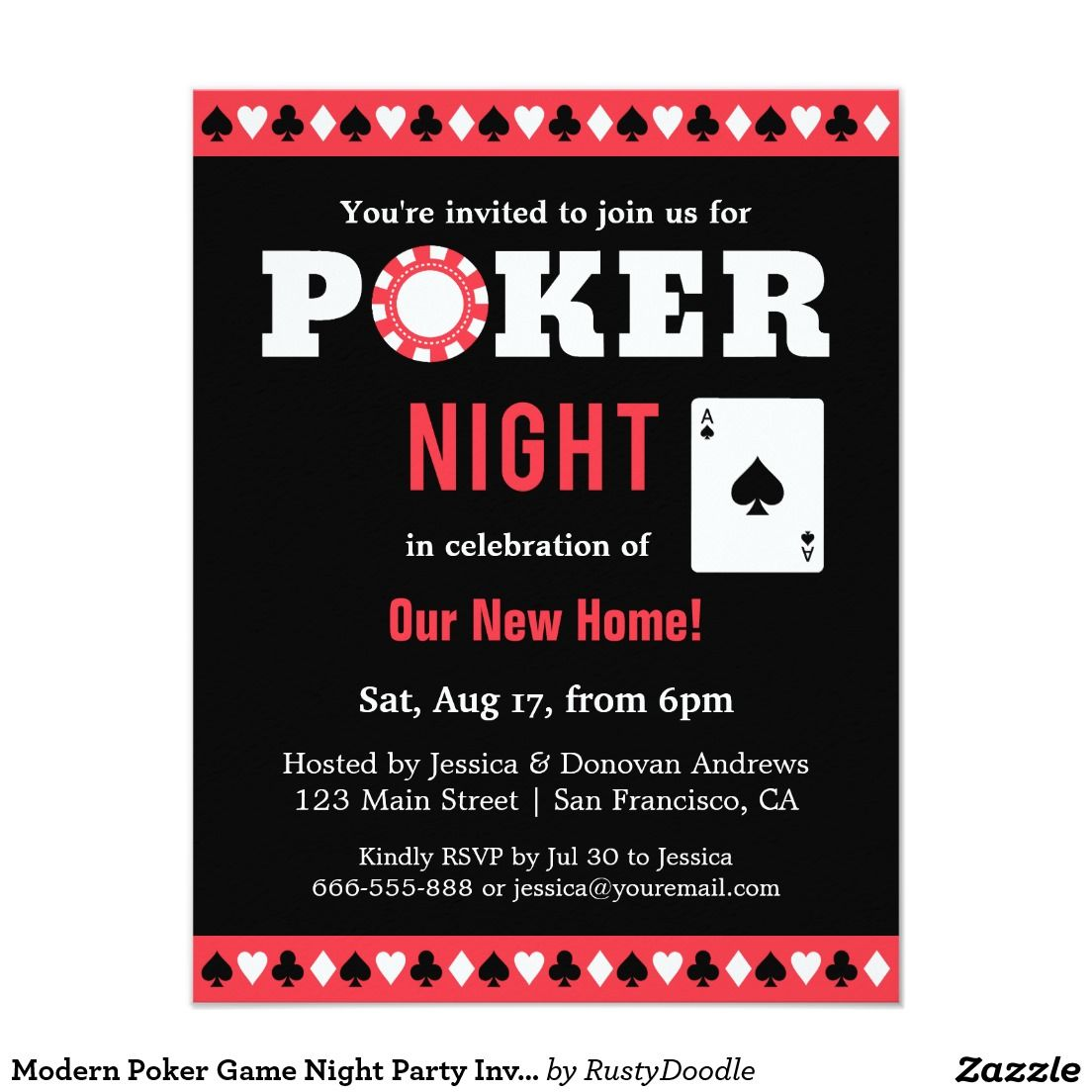 Modern Poker Game Night Party Invitations | Unique! Divorce! Fiestas ...