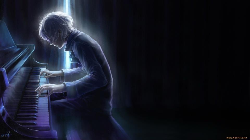 Anime Guy Playing Piano Manga Illustration Art Digital Painting