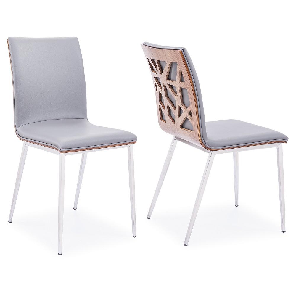 Dining chair stainless steel gray u walnut armen living armen