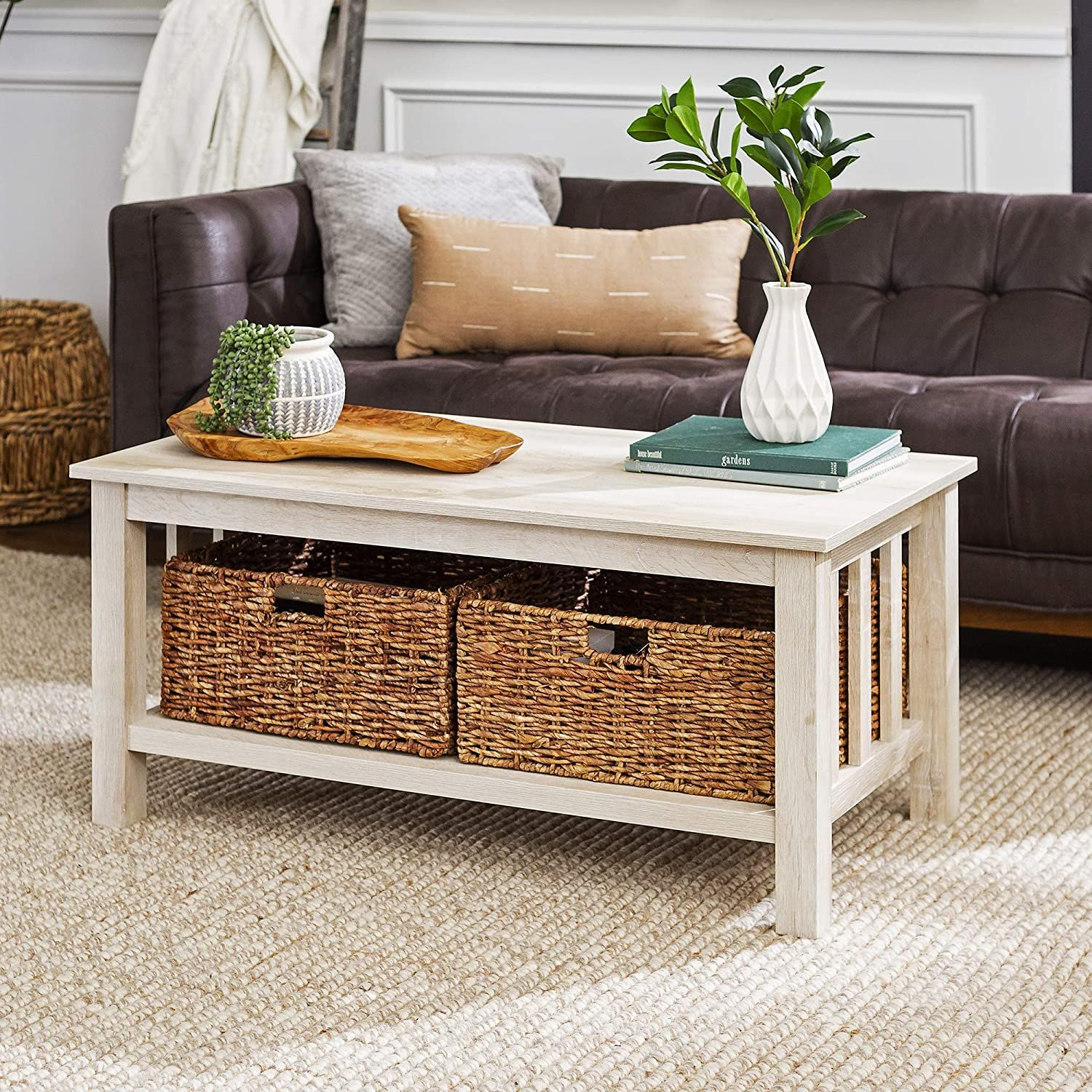 We Furniture Rustic Wood Rectangle Coffee Accent Table Storage Baskets Living Room 40 Inch Whi In 2020 Walnut Furniture Living Room Furniture Wood Pallet Furniture #walnut #furniture #living #room
