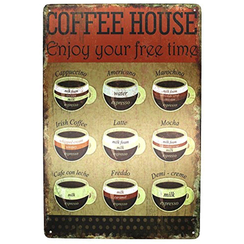 Coffee House Enjoy Your Free Time Metal Tin Sign, Espresso Vintage ...