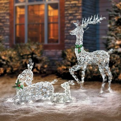Lighted Wireframe Reindeer Family Christmas Yard Decorations