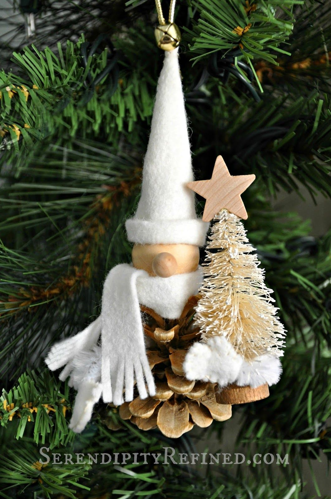 Bleached Pinecone Woodland Gnome Ornament Day 9 Natural Christmas Ornaments Christmas Crafts Xmas Ornaments