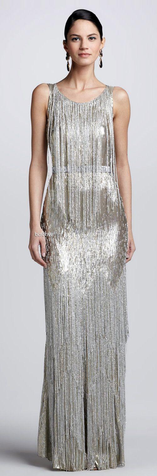 reception dress idea oscar de la renta beadfringe