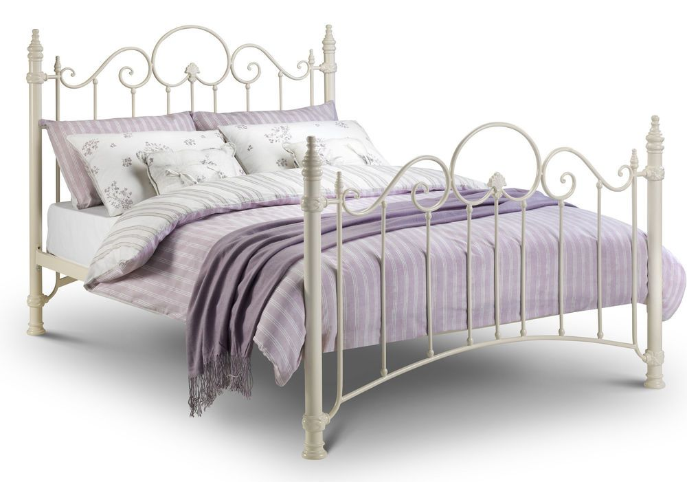Florence Metal Bed Frame In Cream - Single Double Kingsize ...