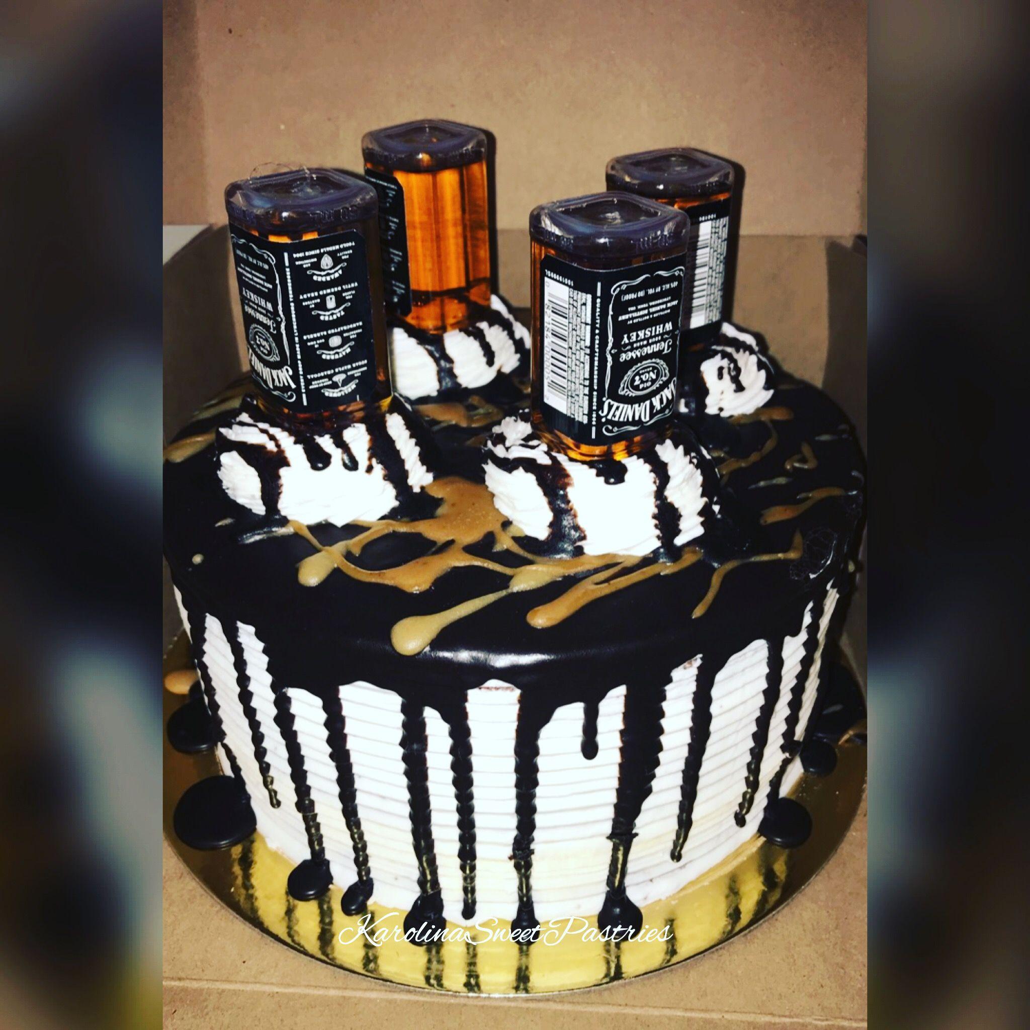 Jack Daniels Drip Cake Ganache Buttercream Chocolate Liquor Cake Birthday Liquor Cake Bottle Cake Sweet Pastries