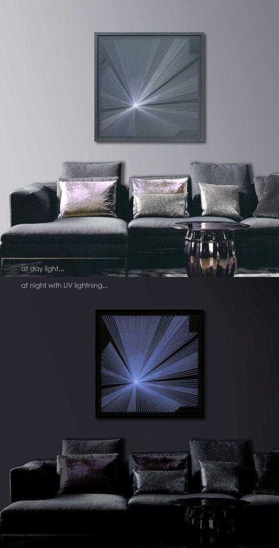 Large Abstract Zen Wall Art in Gray - Framed Art - 3D UV String Art ...