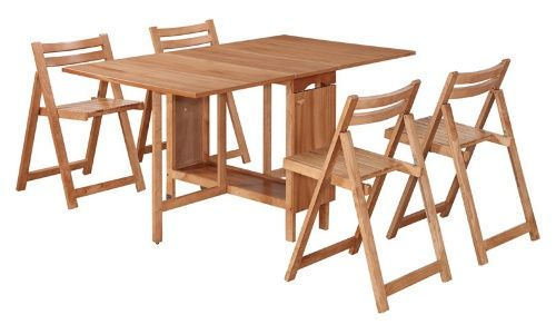 Superieur Linon Delany 5 Piece Space Saver Folding Dining Set With Self Storing Chairs    Natural   Dining Table Sets At Hayneedle