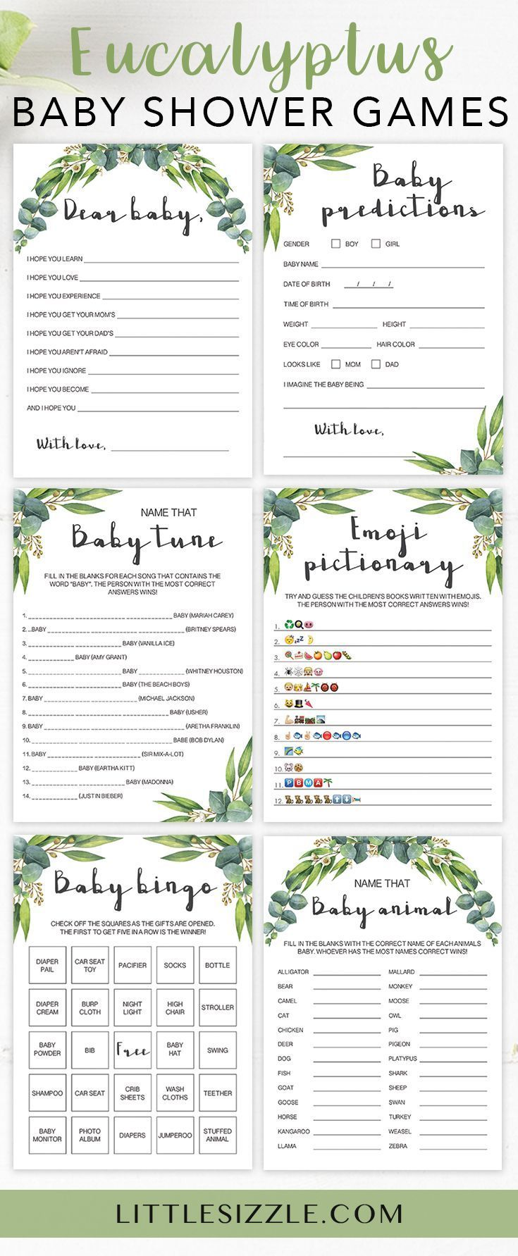 Popular Greenery Baby Shower Games Printable