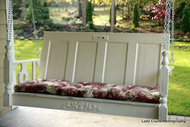 What a great upcycling project.  Make a fantastic porch swing using an old door, table top, and legs.