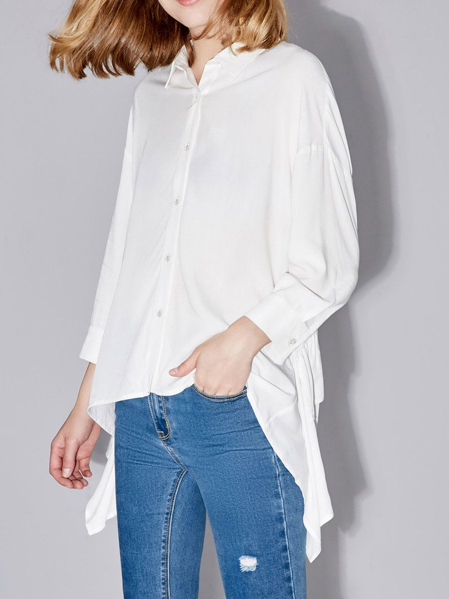 #AdoreWe #StyleWe Blouses❤️Designer AMII Simple Shift Solid 3/4 Sleeve Blouse - AdoreWe.com
