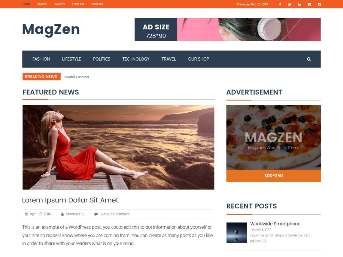 Magzen Is An Immaculate Responsive Magazine Style WordPress Template Reasonable For News Daily Paper Distributing Business And Any Sort Of