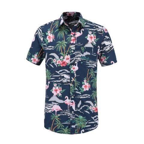 6deaa5be580 Dioufond 2018 Summer Mens Hawaiian Beach Cool Clothing Flamingos Floral  Print Short Sleeve Fashion Men Shirt Cotton Oversize 3XL