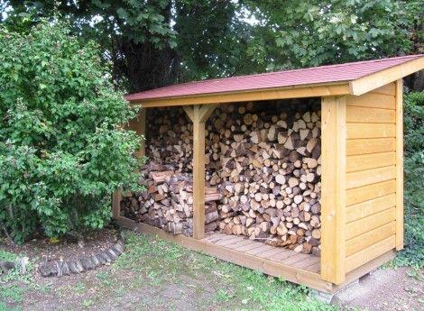 Abri bûches en bois 120Mx300M - Cerisier  abris de jardin en bois - cerisier abri de jardin