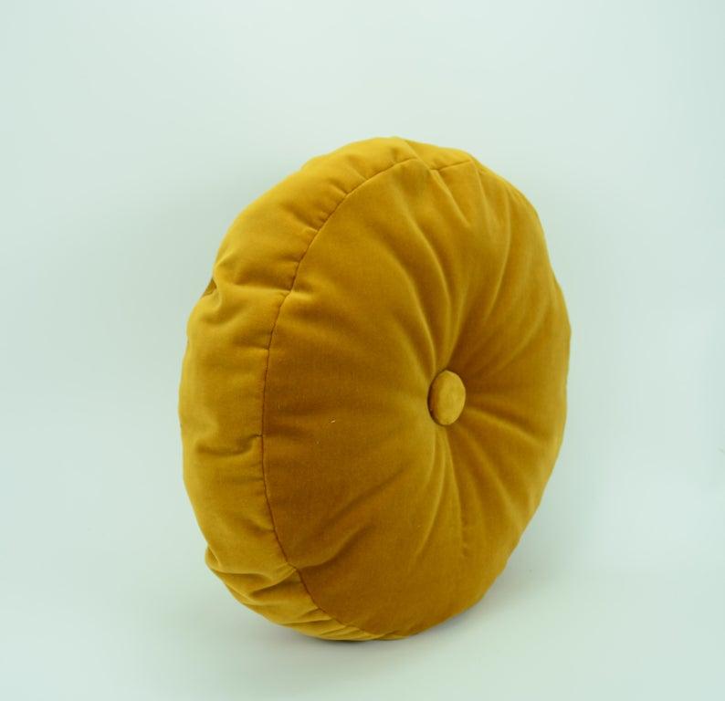 Round mustard velvet cushion // round velvet pouf pillow //   Etsy