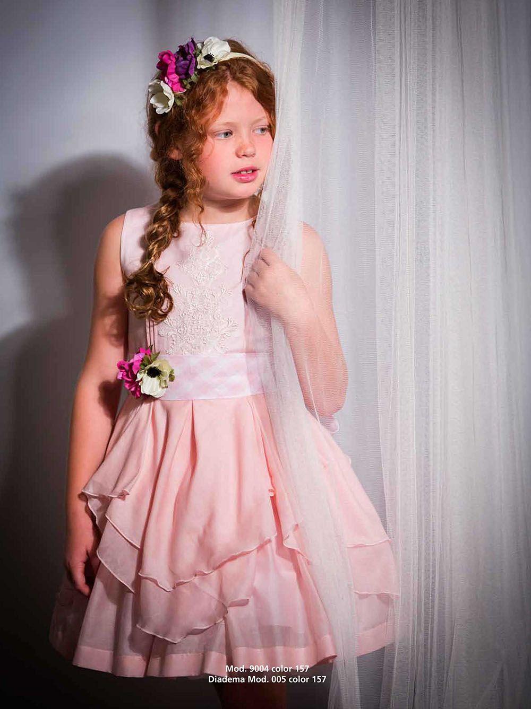 Vestido de niña Fiesta de voile y lino en color rosa | closet ...