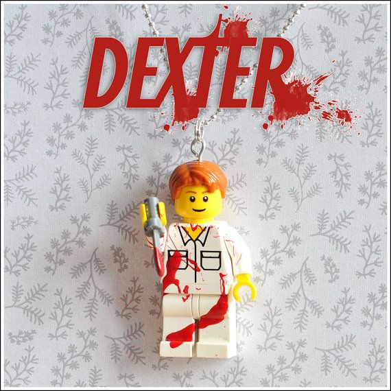 Dexter Lego Mini figure necklace by KitschBits on Etsy, £10.00