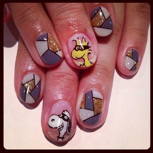 Snoopy & color brock nails #avarice #art #kayo #design #nails #nailart #nailsalon #snoopy #brock (NailSalon AVARICE)