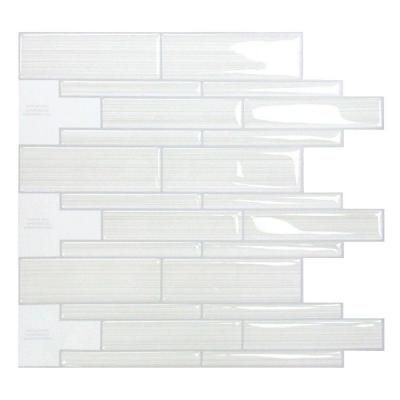 Smart Tiles Infinity Blanco 10 50 In X 9 70 Mosaic Adhesive Decorative Wall Tile Backsplash White Sm1028 1 The Home Depot
