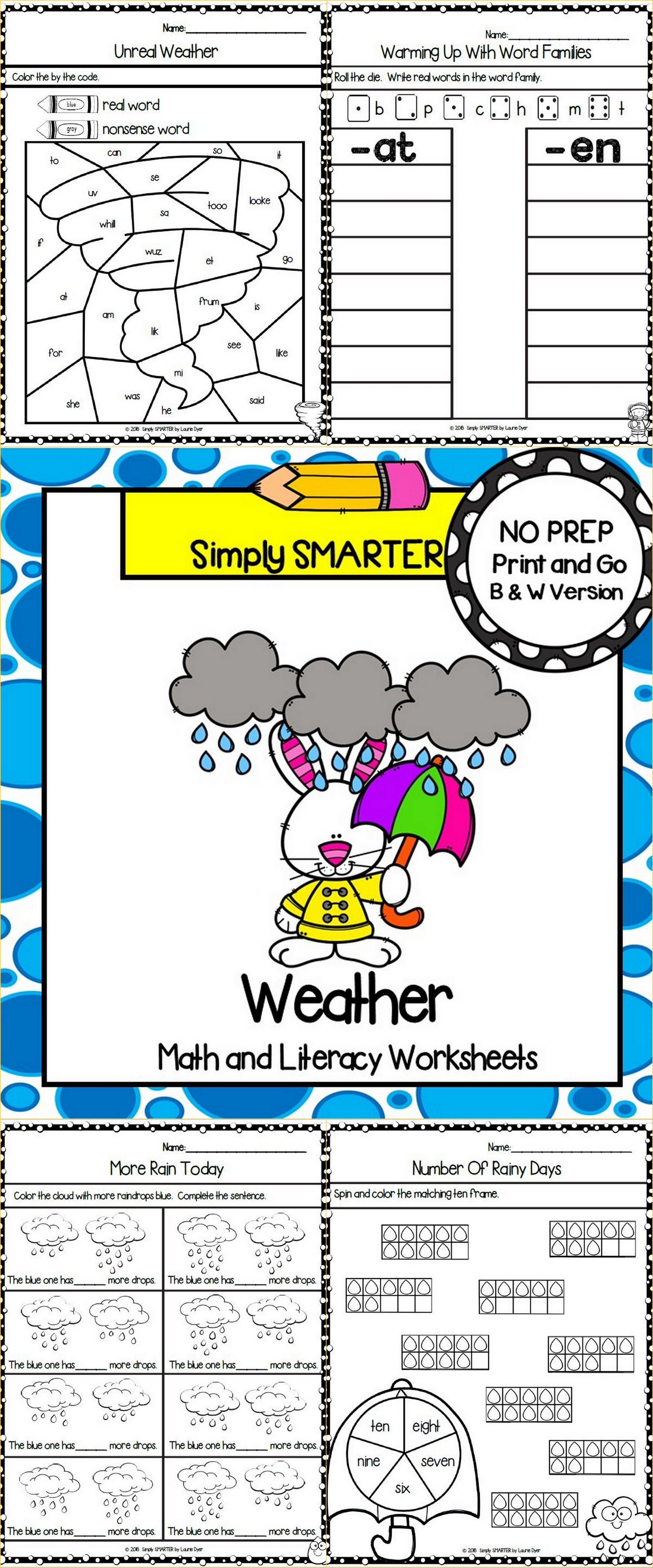 Weather Themed Kindergarten Math And Literacy Worksheets