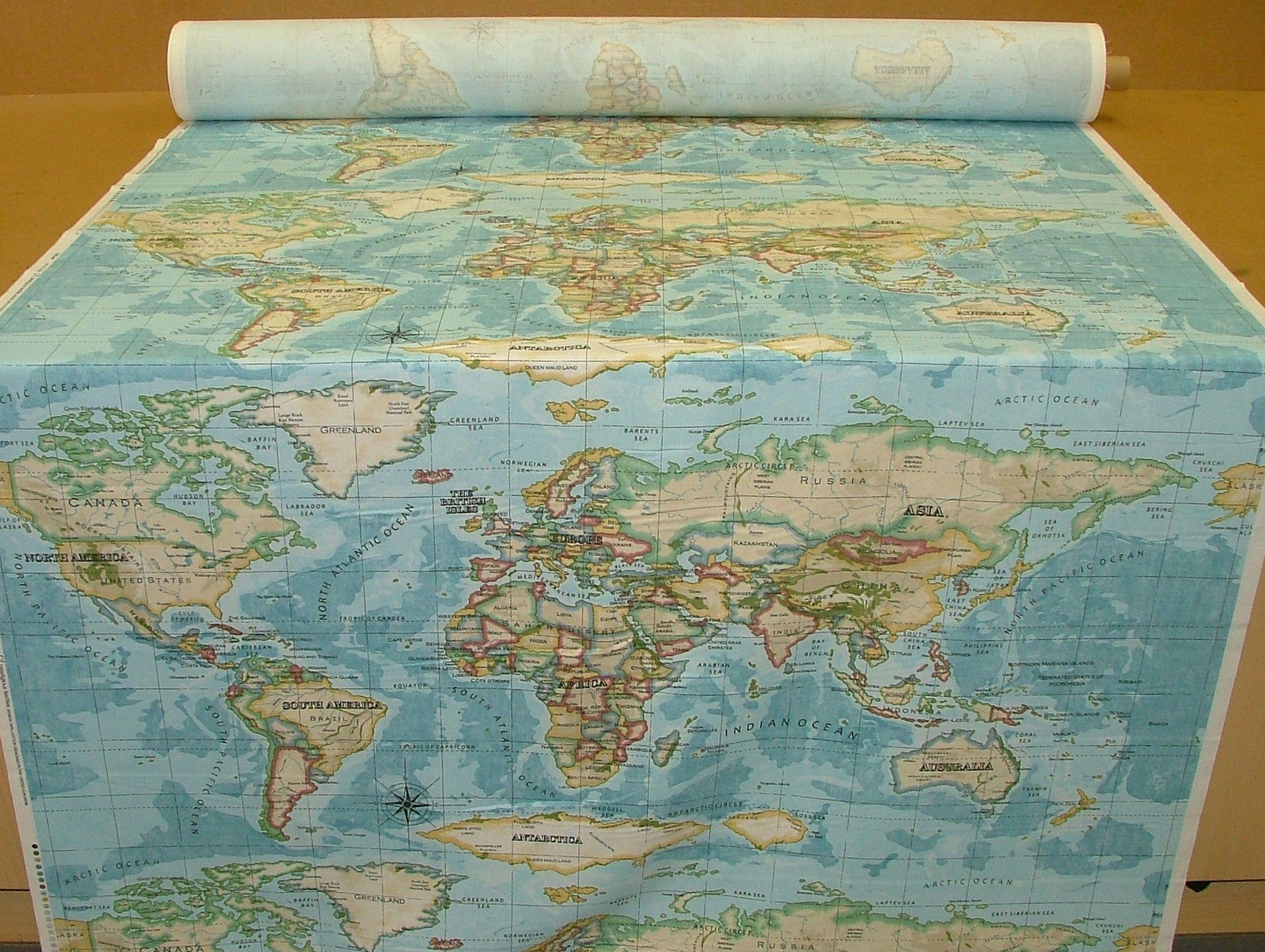 World map upholstry range prestigious atlas world map azure world map upholstry range prestigious atlas world map azure prestigious designer fabric gumiabroncs Choice Image
