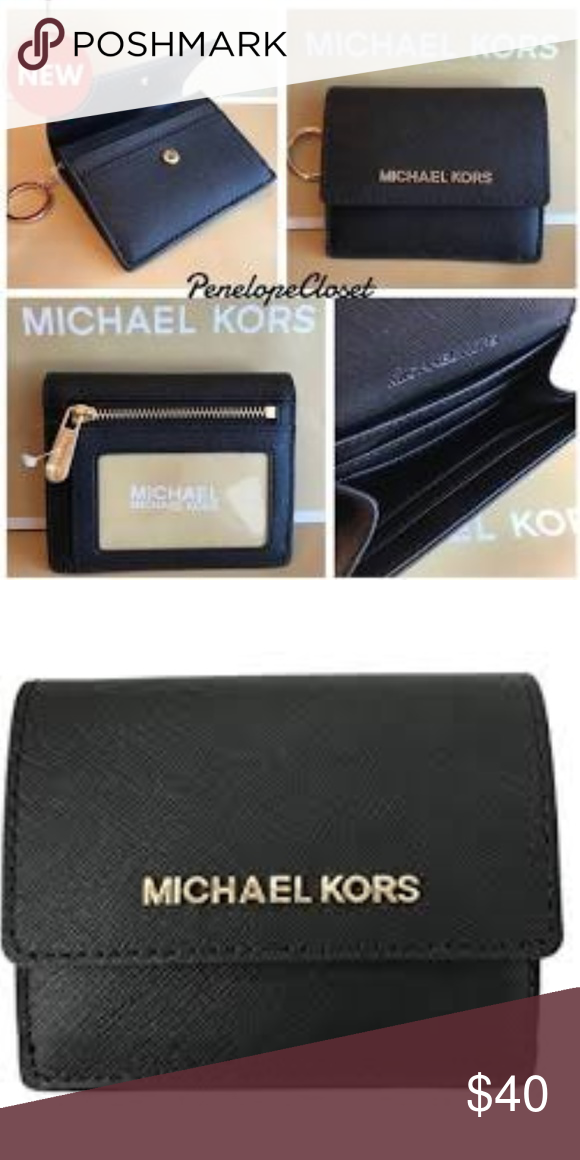 df36b9ad92ed NWT Michael Kors Card case ID key holder wallet Authentic MK Michael Kors  Jet Set Coin