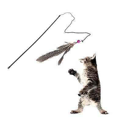 cool Funny Cat Bell Feather Wire Rod Dangle Flying Playing Toy for Cats - For Sale