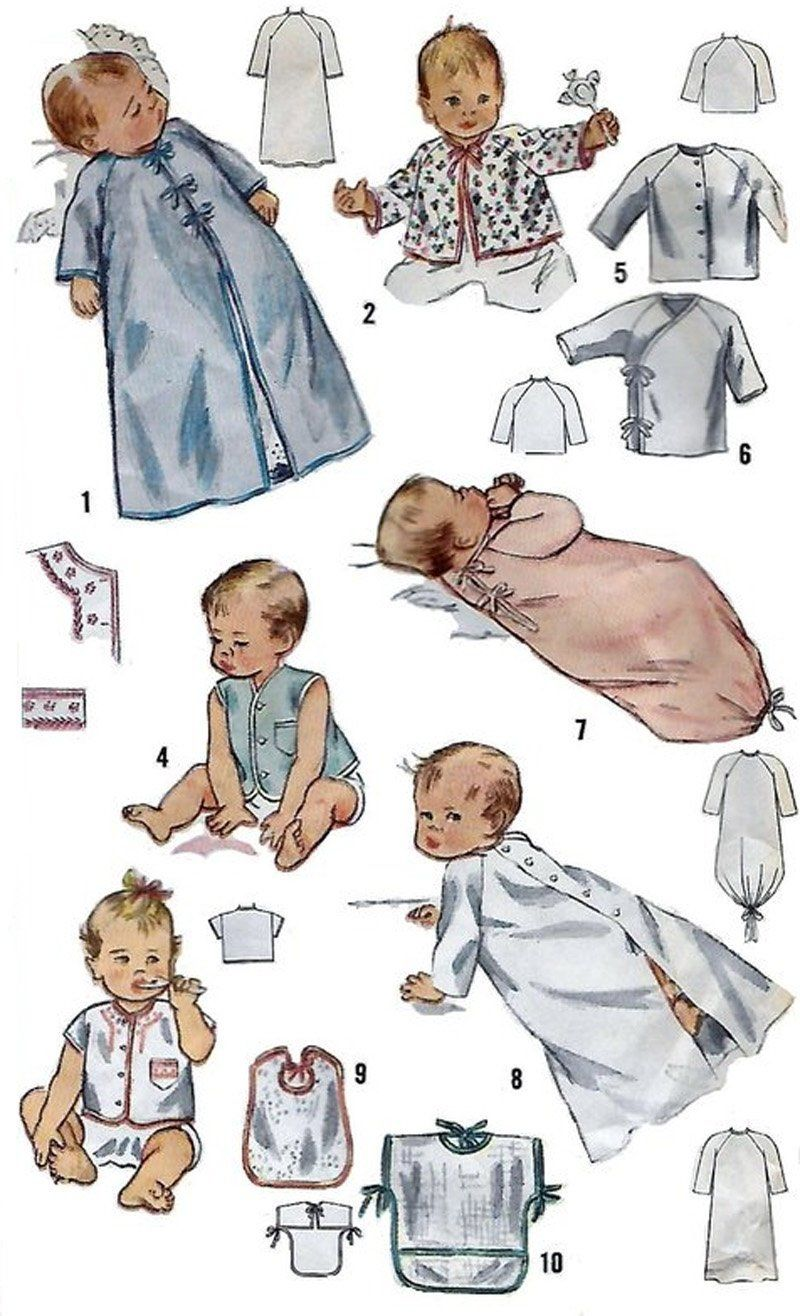 Vintage 50s Simplicity 3043 Infants Layette Sewing Pattern One Size ...