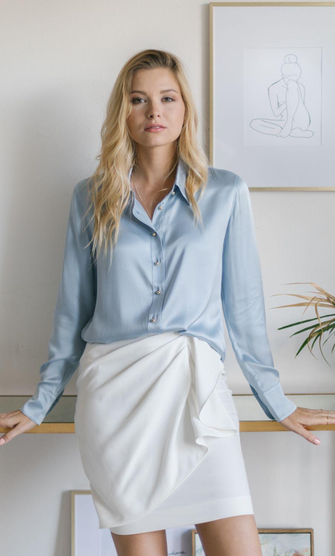 5e173f47da0ffd Milano Silk Blouse by Ravella in Sky Blue. 100% Luxury Silk.