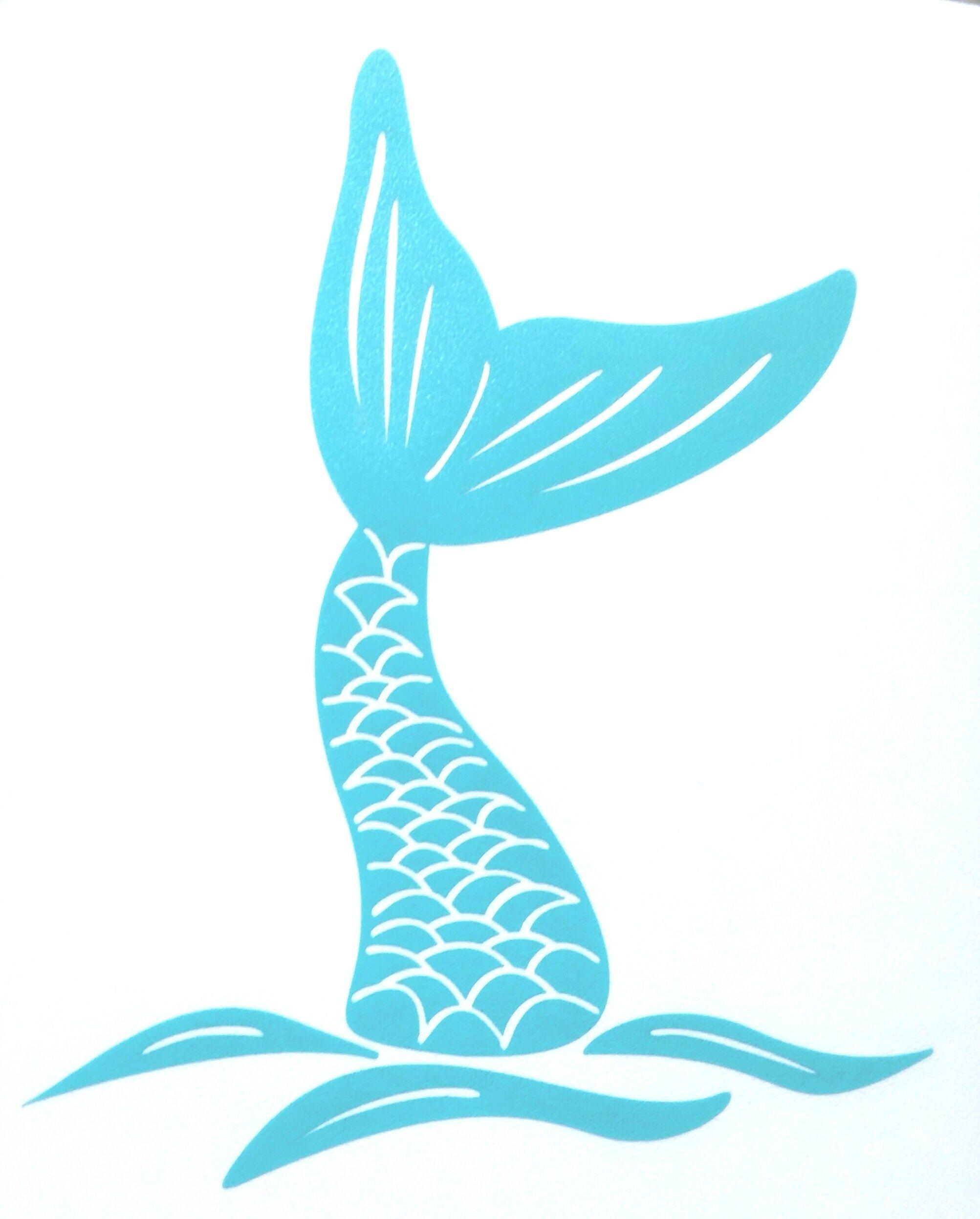 Beach Bumper Sticker Laptops for Tumblers Car Windows Custom Mermaid In The Sea Vinyl Decal Mermaid Tail Ocean Waves Design
