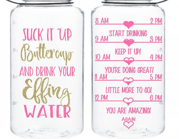 246e5c873a $17.60. water tracker bottle Suck it up buttercup and drink your effing  water BPA free workout water intake bottle motivation 34 Oz sports bottle