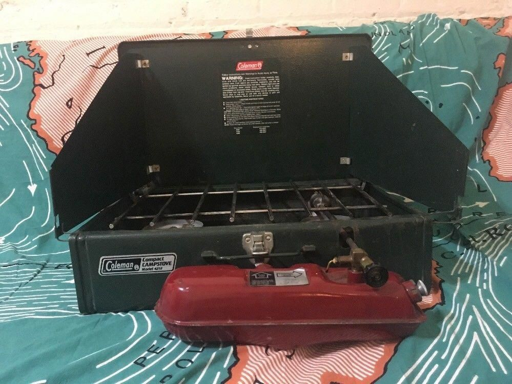 Vintage Coleman 425F Camp Stove 2 Burner Compact Green Made