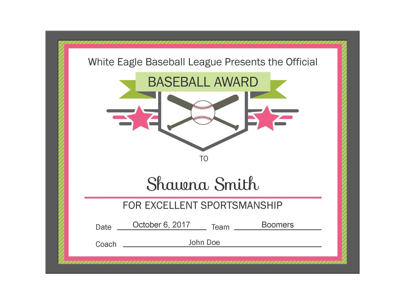 Editable Pdf Sports Team Baseball Certificate Award Template In 3