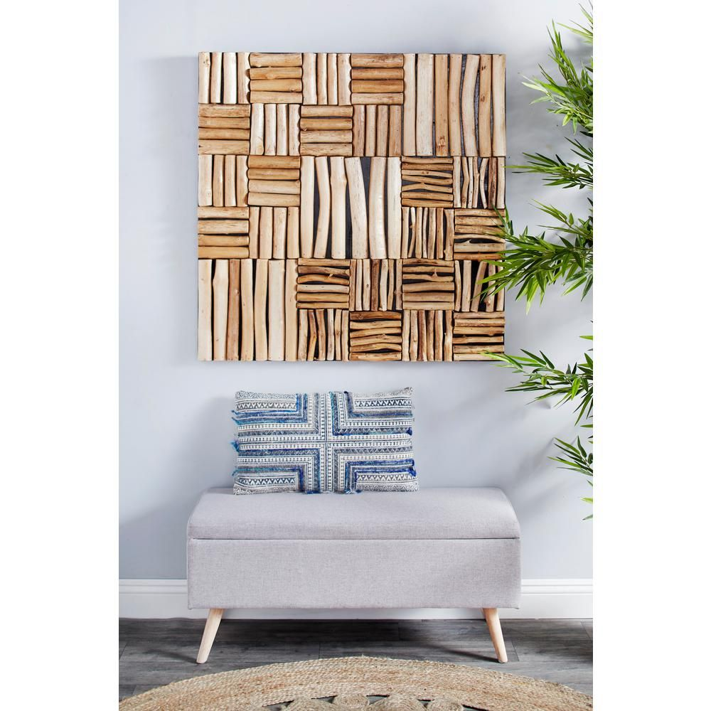 Litton Lane Large Square Handmade Reclaimed Teak Wood Wall Art 57272 The Home Depot In 2020 Teak Wood Wall Decor Wood Wall Decor White Wood Wall Decor